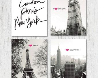 DIGITAL PRINTS - Set of 4 Prints - I Heart London, Paris, New York