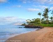 Maui Beach Photography - Hawaii Print - Grant Wailea - Palm Trees on Beach Art, Island of Maui Sunrise