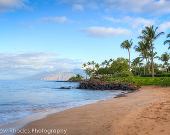 Maui Beach Photography - Hawaii Print - Grant Wailea - Palm Trees on Beach Art, Island of Maui Sunrise