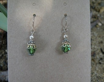 Silver and Moss Green Swarovski Crystal Earrings