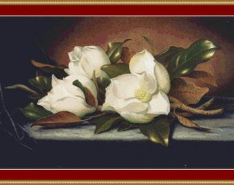 Giant Magnolias Cross Stitch Pattern