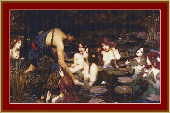 Hylas And The Nymphs Cross Stitch Pattern /Digital PDF Files /Instant downloadable