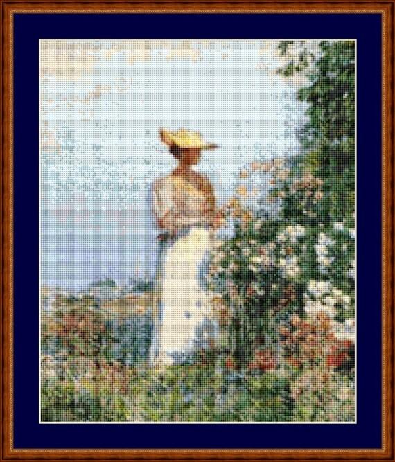 Lady In Flower Garden Cross Stitch Pattern