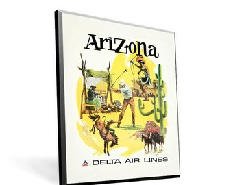 Vintage Travel Poster Delta Airlines Arizona on 8x10 PopMount Ready to Hang FREE SHIPPING