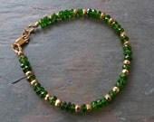 Chrome Diopside Gemstone Bracelet with Gold, Deep Emerald Green, Handmade