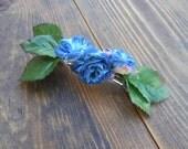 Flower Hair Barrette - Blue Rose Fabric Flower Hair Accessory - Handmade Hair Piece - Fabric Flower Accessory - Blue Flowers
