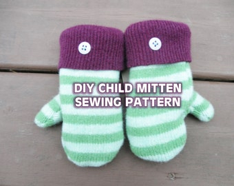 WOOL CHILDRENS MITTENS pattern - upcycled small sweater mitten ...