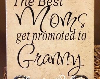The Best Moms Get Promoted To Granny Vinyl Art Decorative Tile