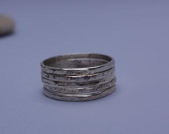 SALE Sterling silver  Stackable Rings - Set of 5 - Simple Modern Minimal Rings,rustic hammered stacking rings handmade