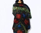 Felted wool scarf  felt shawl merino wool  black green red blue Red Poppy fiber art spring felted art felted clothing
