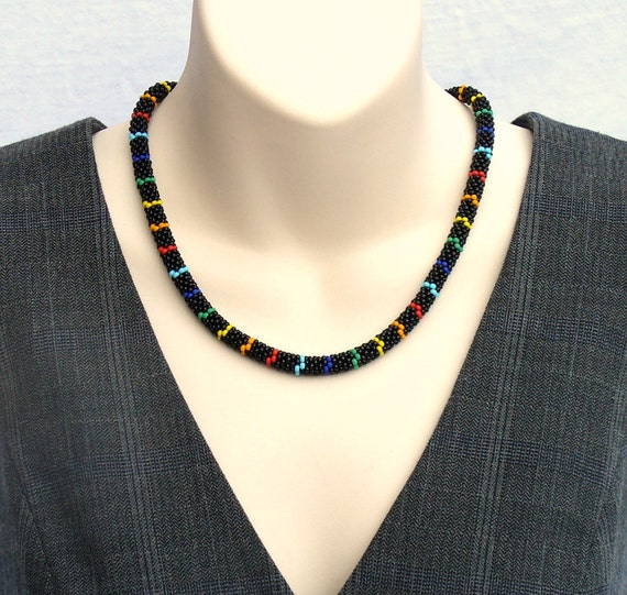 RESERVED for Suzanne! Rainbow Necklace, Bead Crochet Rope, Beaded Rope Necklace, Multi Coloured Bead Necklace, Casual Bead Jewelry -Etsy UK