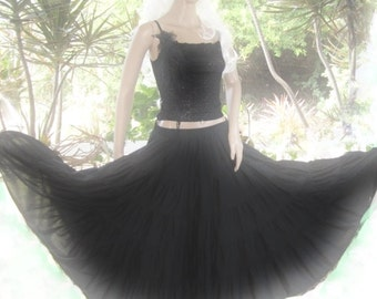 peasant gypsy long black full skirt 5 tiered shabby chic woman's clothing handmade steamed punk under skirt full circle belly dancer skirt