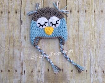 Owl Beanie, Owl Hat, Owl Photo Prop, Owl Baby Shower Gifts, Crochet Photo Prop, Newborn Costume