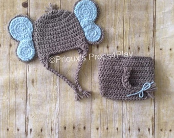 Crochet Photo Prop , Elephant Costume, Elephant Hat, Elephant Baby Shower, Elephant Baby Shower Gift, Elephant Photo Props