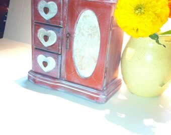 A Rustic Red Jewelry Box Heart Jewelry Armoire, Farmhouse Jewelry Armoire, Vintage Country Jewelry Cabinet White Washed Jewelry Organizer