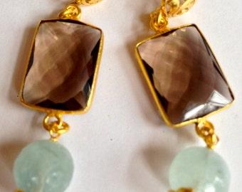 Smokey Topaz Bezel Set Chicklet Drop Earrings with Ball Aquamarine Dangle 24K Gold Vermeil Filigree Post