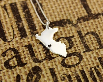 Peru necklace sterling silver personaozed i love Peru necklace with heart comes with Box style chain Gift for her - best friend and family