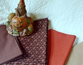 Autumn Colored Crafting Bundle--4 Cotton Quilting Craft Fabrics in Nice Fall Colors of Brown, Rust and Tan