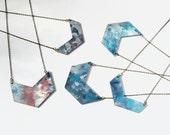 Paint splatter textural wooden chevron necklace - antique gold chain
