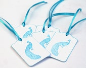 Turquoise Blue Peacock Gift Tags, Elegant Wedding favor tags, Art deco style