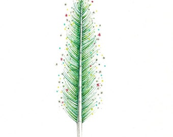 """Festive Little Tree art print of an original drawing available 5x7"""" or 8x10"""""""