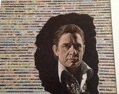 "A Boy Named Sue"" Johnny Cash - ORiGiNAL collage art Framed  - one of a kind, signed 24"" x 27.5"""
