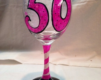 Happy 30th, 40th, 50th or 21st Birthday Wine Glass Personalized Gift with Name, Hand Painted Glass