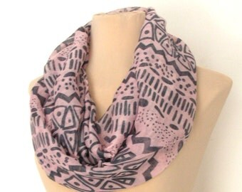Pink And Grey Aztec Tribal Women's Infinity Scarf -  Soft Boho Cotton Lightweight Gift Native Scarf Chevron Fashion Tube Scarves Loop Scarf