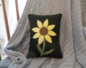 Felt Appliqued Pillow with Sunflower, Decorative Throw Pillow