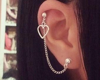 Simple Heart Cartilage Chain Earrings Silver Double Lobe Helix Ear Cuff Jewelry