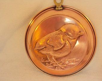 "Copper Wall Dish,Repousse Bird design, 5.5"" diameter"