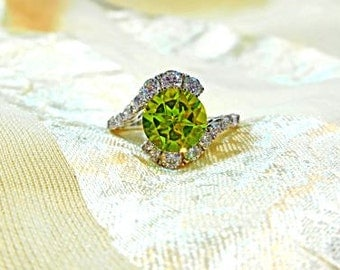 Peridot Bypass Style Ring or Engagement Ring With White Topaz in White Gold & Sterling Handmade Jewelry