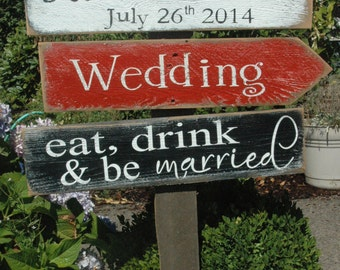 CUSTOMIZED names WEDDING sign with directional arrows