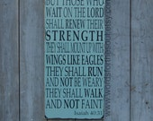Isaiah 40:31 Christian Typography Scripture Subway Art Wooden Sign Painting