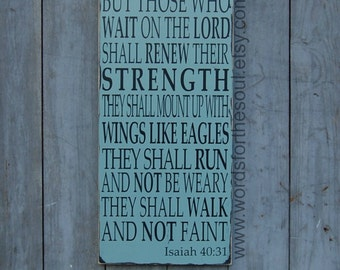 Isaiah 40:31 - Bible Verse Wall Art - Wooden Signs - Scripture Wall Art - Christian Decor - Strength - Teen Room Decor - inspirational decor