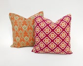 SET OF TWO Eastern Inspired Pillow Covers  Fucscia, Orange, Gold, Soft-Green Many Sizes Squares & Lumbar