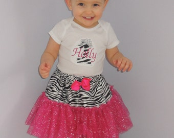 Personalized Baby Girl's First Birthday Zebra Animal Print Tutu Set 1st (2nd also available)