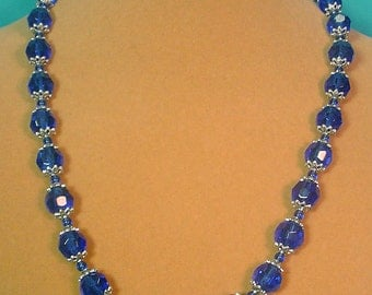 "Brilliant 21"" faceted Cobalt Blue Glass necklace and earrings set - S062"