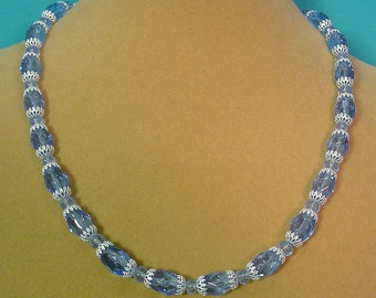 Sparkling bkue and silver necklace and arrings SET - S045 S046