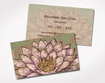 Premium Printed Yoga Business Cards -- LOTUS FLOWER  - Kraft brown illustration - Yoga - Massage Therapist cards- Spiritual