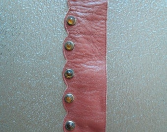 Original Vintage 1940s 40s Brown Leather Belt with Gold Yellow Studs Jewels -Western-Motorcycle Gang-Bad Girl-Hot Rod-