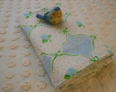 Adorable! Vintage Full Double Flat Percale Bed Sheet Shabby Cottage Chic Aqua Rosebuds Blue White Polka Dots Green Bows Scrolls Ribbons
