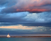 Boat Photography Nantucket Photo Nautical Art Sunset Sailing Sailboat Picture Seascape Coastal Beach Decor Large Wall Art Blue Purple Teal