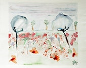 """SALE !!! Flower painting watercolor landscape, original. A flowery field in soft summer colors. 9"""" x 9.9"""". 'Meadow with dream flowers 3'"""