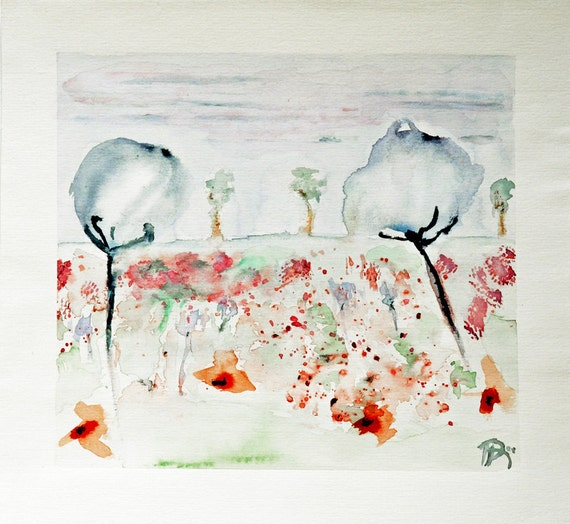 "SALE !!! Flower painting watercolor landscape, original. A flowery field in soft summer colors. 9"" x 9.9"". 'Meadow with dream flowers 3'"