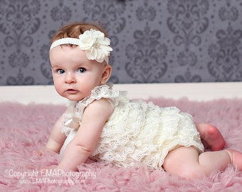 Baby Headband, Ivory flower Headband, Toddler Headband, Newborn headband, hair bow, Newborn photo prop, Christening bow, baptism headband
