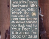Wood Sign, Welcome To Our Deck , Home Of The Famous Backyard BBQ, Handmade, Subway, Word Art