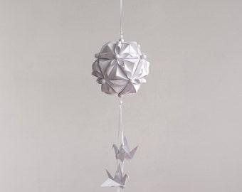 "Wedding Decoration - Mobile ""Pure love"" - white - handmade - modern - bedroom decor - bird mobile - hanging paper mobile -  Easter gift"