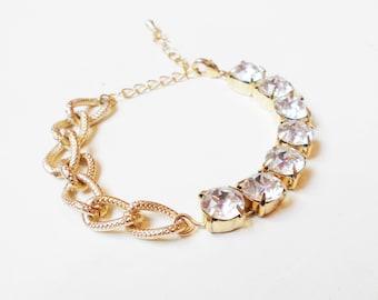 Chunky Chain and Swarovski Crystal Bracelet - Gold Chunky Bracelet