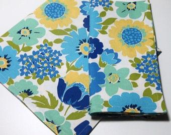 Blue Yellow Aqua Floral Cloth Napkins//Set of 4